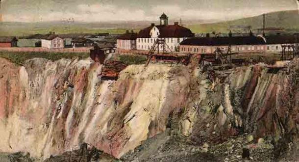Một tấm bưu thiếp mô tả mỏ đồng Falun vào năm 1907.