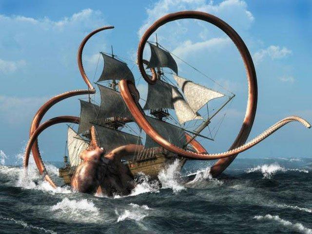 Quái vật Kraken được mô tả là một sinh vật hung dữ thường tấn công tàu bè trên biển.