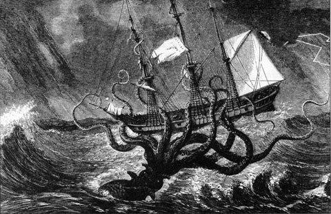 Kraken là phiên bản huyền thoại của mực ống khổng lồ có thật.