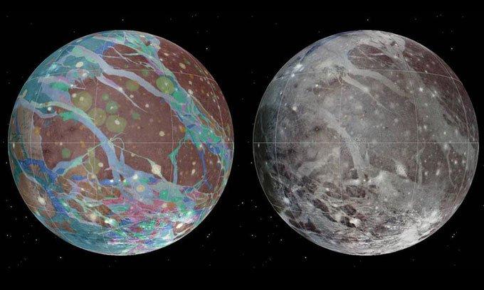Bản đồ tổng hợp màu (trái) và địa chất (phải) của mặt trăng Ganymede