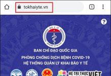 Truy cập vào www.tokhaiyte.vn từ trình duyệt của thiết bị.