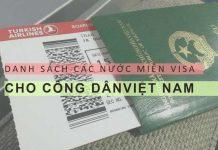 Danh sách các nước miễn visa